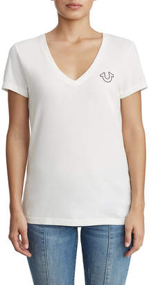 True Religion WOMENS HORSESHOE LOGO V NECK TEE