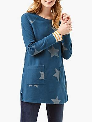 White Stuff Starlight Jersey Tunic Top, Bottle Teal