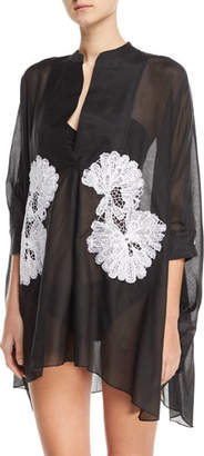 lila.eugenie Split-Neck 3/4-Sleeve Voile Kaftan with Lace, One Size