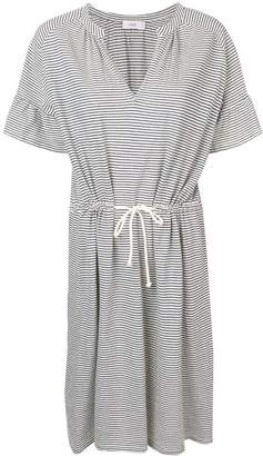 Closed drawstring waist striped dress