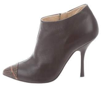 Giuseppe Zanotti Leather Pointed-Toe Booties Brown Leather Pointed-Toe Booties