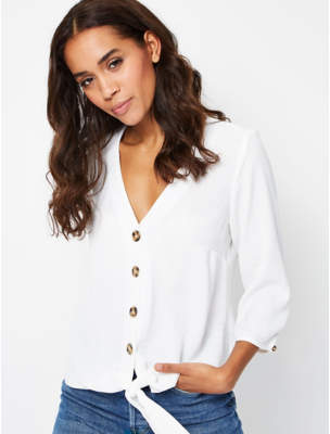 George Ivory Tie Hem Button Down Blouse