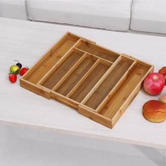 Generic Household Bamboo Wood Cutlery Tray Holder Tidy Kitchen Utensil Drawer Organizer Storage Expandable