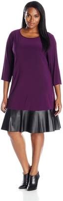 Tiana B Women's Plus Size 3/4 Sleeve Knit Swing Dress with Faux Leather Hem