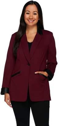 Susan Graver Ponte Jacket with Faux Leather Trim