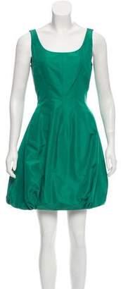 Oscar de la Renta Gathered Satin Dress