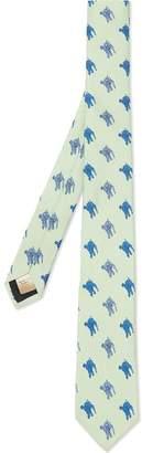 Burberry Slim Cut Equestrian Knight Print Silk Tie