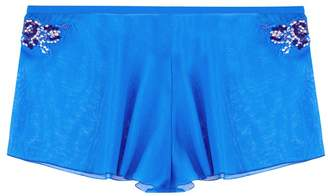 La Perla Opal Blooms Azure Silk Cotton Voile French Knickers With Embroidered Tulle