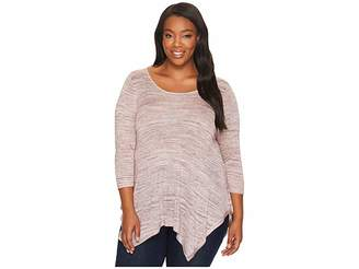 Bobeau B Collection by Plus Size Langley Spacedye Knit Top Women's Long Sleeve Pullover