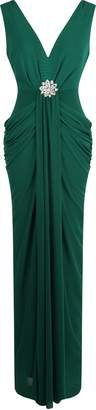 Angel-fashions Angel fashions Women's V Neck Ruched Crystal Pencil Evening Dress
