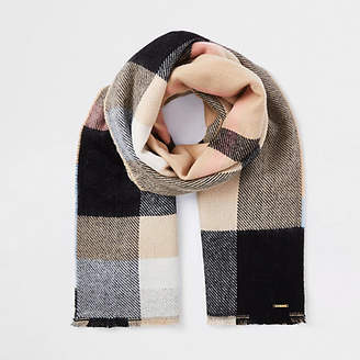River Island Beige check print scarf