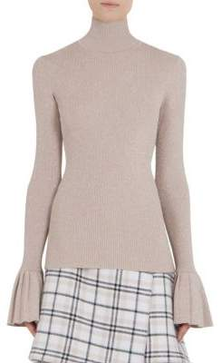 Carven Pleated Wrist Bell-Sleeve Sweater