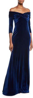 Theia Velvet Crisscross Off-the-Shoulder Gown
