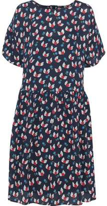 Chinti and Parker Gathered Printed Silk Crepe De Chine Dress