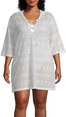 Porto Cruz Geometric Knit Swimsuit Cover-Up Dress-Plus