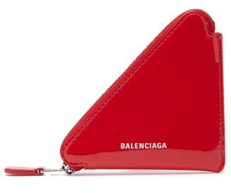 Balenciaga Triangle Patent Leather Coin Purse - Womens - Red