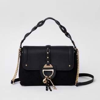 River Island Womens Black key charm tab crossbody tote bag