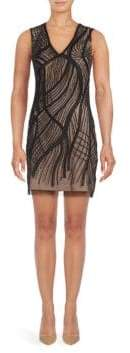 Aidan Mattox Embroidered V-Neck Sheath Dress