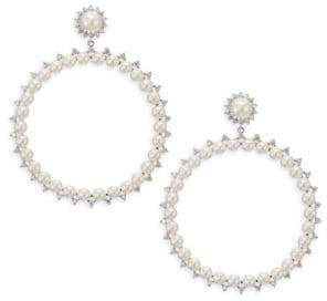 Fallon Faux-Pearl Drama Hoop Earrings