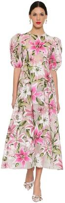 Dolce & Gabbana Flocked Organza Midi Dress
