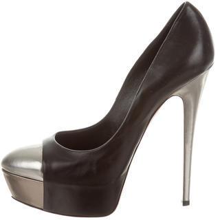 Casadei Leather Cap-Toe Pumps $95 thestylecure.com