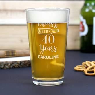 Monogram Online Custom Name Cheers, Beers & Years Beer Pint Glass, 16 oz