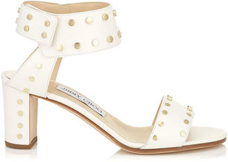 Jimmy Choo VETO 65 Chalk Shiny Leather Sandals with Gold Studs