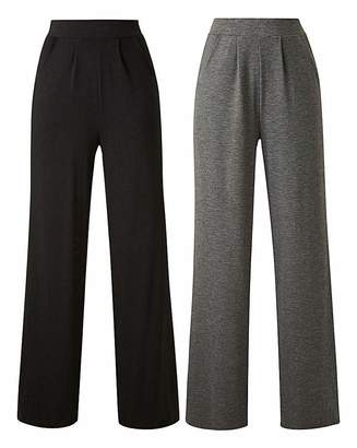 Fashion World Pack of 2 Stretch Jersey Wide Trousers