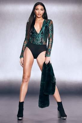 boohoo Premium Embellished Mesh Plunge Bodysuit