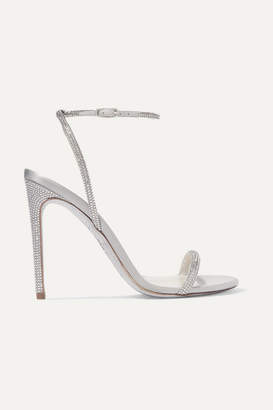 Rene Caovilla Crystal-embellished Metallic Leather And Satin Sandals - Silver