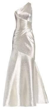 Theia One-Shoulder Metallic Gown