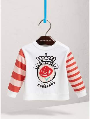 Burberry Icons Embroidered Cotton Jersey Top