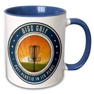 3dRose Putt Plastic In Its Place #11 - silhouette of frisbee disc golf basket as the sun rises - Two Tone Blue Mug, 11-ounce