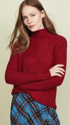 Autumn Cashmere Cashmere Mock Neck Sweater with Lattice Stitch