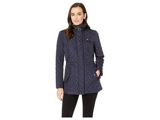 Cole Haan Essential Quilted Zip Front Jacket with Faux Leather Collar Belt and Piping Details