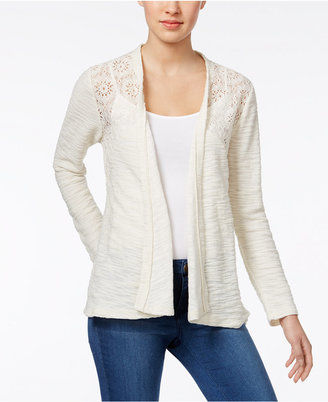 Style & Co Open-Front Lace-Yoke Cardigan, Only at Macy's $49.50 thestylecure.com