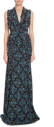 Altuzarra V-Neck Sleeveless Vine-Print Long Evening Gown w/ Ruffled Trim