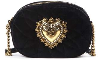 Dolce & Gabbana Matelasse Black Velvet Shoulder Bag
