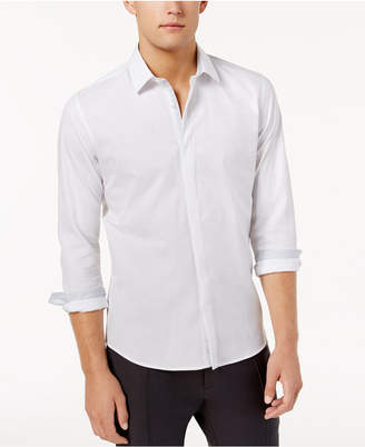 Ryan Seacrest Distinction Men's Hidden Placket Solid Textured Woven Shirt, Created for Macy's
