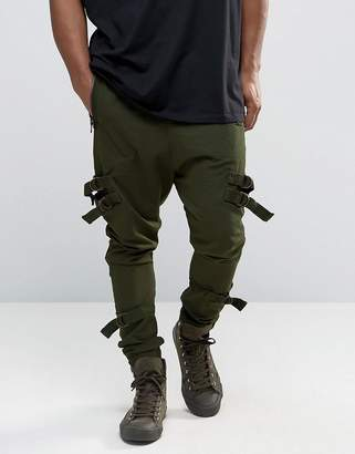 Asos Drop Crotch Joggers With Taping In Dark Khaki
