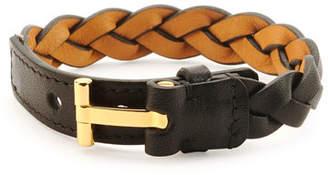 Tom Ford Nashville Men's Braided Leather Bracelet, Black