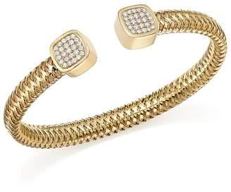 Roberto Coin 18K Yellow Gold Primavera Diamond Capped Cuff