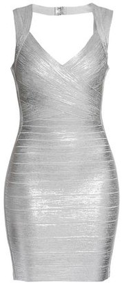 31ab40c272b Herve Leger Iman Open-back Metallic Bandage Mini Dress