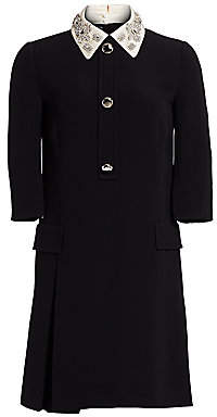 Prada Women's Embellished Collar Cady Crepe Shirtdress