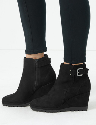 Marks and Spencer Buckle Strap Wedge Ankle Boots