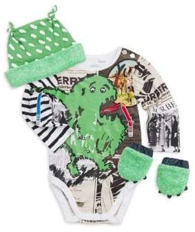 Burberry Baby Boy's Four-Piece Green Monster Bodysuit, Hat& Mitts Set