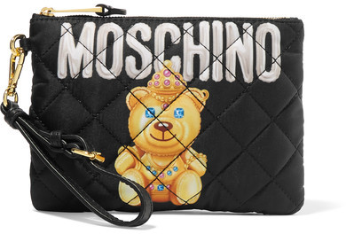 MoschinoMoschino - Quilted Printed Shell Pouch - Black