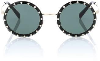 Valentino Crystal-embellished round sunglasses