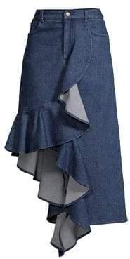 AMUR Kiara Draped Asymmetric Ruffle Skirt