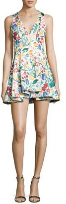 Alice + Olivia Tanner Asymmetric Floral Cocktail Dress, Multicolor $375 thestylecure.com
